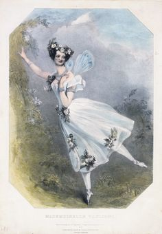 Marie Taglioni (1804-84) in the ballet Flore et Zephre, engraving by Richard James Lane (1800-72), after a drawing by Alfred Edward Chalon (1780-1860), hand-coloured engraving, England, 1831. V&A. If the dress were longer, Taglioni would be in the...