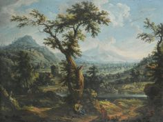 Scipione Cignaroli A VIEW OF THE SUSA VALLEY, PIEDMONT, WITH A SHEPHERD AND MOTHER AND CHILD IN THE FOREGROUND, OTHER FIGURES IN A BOAT AND ON THE BANK OF A RIVER BEYOND