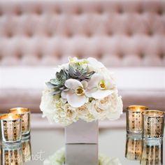 shape for cocktail tables, different flowers Orchid Arrangements, Wedding Arrangements, Flower Arrangement, Cheap Wedding Flowers, Floral Wedding, Boutonnieres, Succulent Wedding Centerpieces, All White Wedding, White Weddings