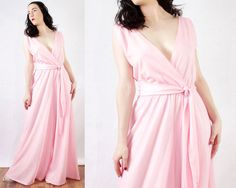 70s Shimmery Pink Palazzo Pant Belted Jumpsuit by BGSvintage