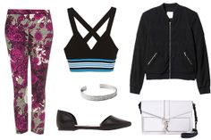 Zara Cropped Sporty Top, $29.90, available at Zara; Topshop Oriental Floral Cigarette Trousers, $76, available at Topshop; Rebecca Minkoff Hudson Moto Crossbody, $365, available at Rebecca Minkoff; Rebecca Taylor Jacquard Bomber Jacket, $495, available at Rebecca Taylor; Need Supply Camela D'orsay Flat, $48, available at Need Supply; Kendra Phillip Silver Blake Mini Cuff, $48, available at Kendra Phillip.