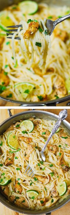 Chicken Pasta with Creamy Cilantro-Lime Alfredo Sauce – delicious spaghetti in a creamy white cheese sauce with lots of flavor! The sauce is made by cooking garlic, adding freshly squeezed lime juice and cilantro and then mixing everything in a homemade alfredo sauce!
