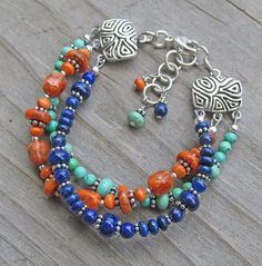 Multistrand Artisan Silver Lapis Turquoise Coral Boho by IndieWolf