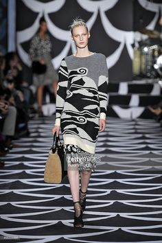 Julia Nobis walks the runway at the Diane Von Furstenberg Ready to Wear Fall/Winter 2014-2015 fashion show during Mercedes-Benz Fashion Week Fall 2014 at Spring Studios on February 9, 2014 in New York City.