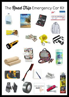 Emergency car kit, preparation, travel, roadside service and putting together items to help in an emergency situation. Road Trip Packing, Road Trip Essentials, Road Trip Hacks, Car Travel, Travel Tips, Travel Hacks, Emergency Preparation, Kit Cars, Car Kits