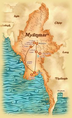 Myanmar map for travel www.exoticvoyages.com