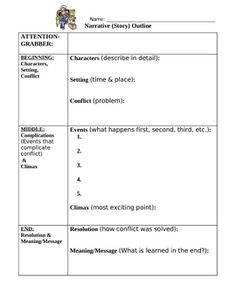 """This one-page """"Narrative Writing Outline"""" helps students brainstorm and organize their ideas before writing their own fictional or personal narrative (story). Teaching Narrative Writing, Personal Narrative Writing, Writing Classes, Writing Lessons, Writing Workshop, Writing Resources, Writing Activities, Essay Writing, Narrative Story"""