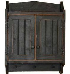 Cabinet Primitive Country Rustic Wood Beadboard Face with Pegs Black
