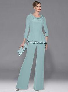 2016 recién llegado de dos piezas verde gasa de la madre trajes pantalón manga francesa Formal lf2739 madre de la novia viste para el partido