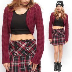 DKNY 90's Style Grunge Burgandy Dark Red Chunky Cropped Cardigan Sweater | eBay