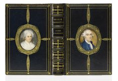 A very early Cosway binding by Rivière & Son, with fine portrait miniatures on ivory of George and Martha Washington, almost certainly painted by Miss C. B. Currie. Crushed navy blue morocco, the covers simply panelled with gilt rules and dotted lines, the front cover inset with a central portrait miniature of George Washington and the rear cover inset with a central portrait miniature of Martha Washington,