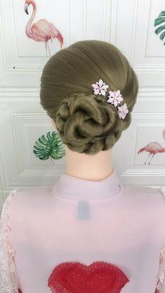 Hairdo For Long Hair, Bun Hairstyles For Long Hair, Bride Hairstyles, Headband Hairstyles, Cute Hairstyles, Hair Up Styles, Medium Hair Styles, Natural Hair Styles, Hair Style Vedio