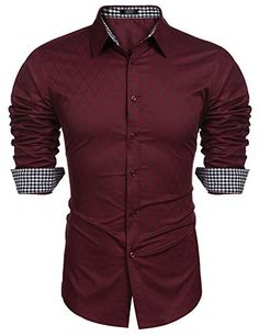 Hestenve Mens Fit Slim Button Down Oxford Cotton Long Sleeve Solid Dress Shirt