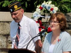 Larchmont Mayor Anne McAndrews speaking at the Memorial Day Service