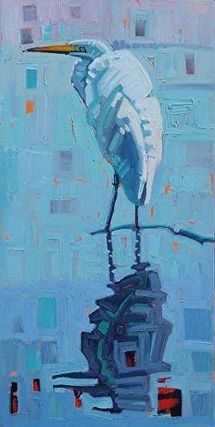 """Egret In The Mist,"" by René Wiley by Rene' Wiley Gallery Oil ~ 24 x 12 good background Colorful Paintings, Animal Paintings, Kunst Inspo, Original Paintings, Original Art, Bird Artwork, Coastal Art, Wow Art, Wildlife Art"
