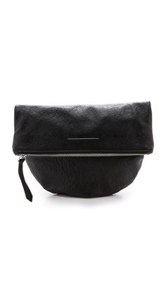 Love this minimalist, wrinkled leather clutch so much. Isn't that shape so cool?