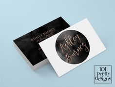 Watercolor business card rose gold printable by 101prettydesigns