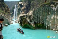 Tamul Falls, Mexico - These spectacular turquoise falls are only a day's drive from Texas. In the town of Tanchachín, you can raft up the canyon, passing by spectacular rock formations and the ancient ruins of Tamtoc, before arriving at one of the continent's most beautifully blue waterfalls.