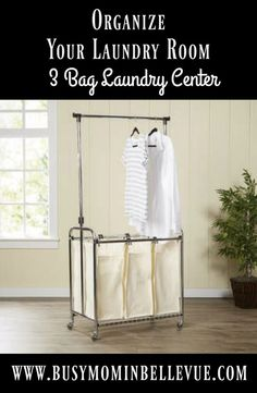 Instantly transform your #laundry room into an #organized oasis with this must-have laundry sorter. It features a chrome-finished metal frame on a castered base for a sleek way to roll it around from your walk-in closet to gather clothes or to the powder room #ad #organization #laundryday #laundryroom #laundrybag