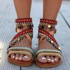 Casual date sandals - gifthershoes boho sandals, beaded sandals, strappy sa Boho Heels, Boho Sandals, Beaded Sandals, Flat Sandals, Flats, Women Sandals, Shoes Women, Ladies Shoes, Summer Sandals