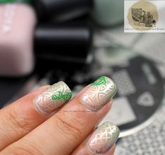 Celtic Knot Nail Art with Zoya Brittany and Sage stamped with MyOnline Shop, Bundle Monster stamping plates and Mentality Beige Opaque I Tales of Coffee, Lacquer and Beauty
