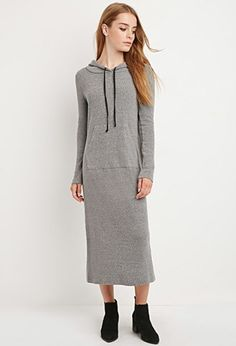 This hoodie maxi dress is cut from a heathered ribbed knit with long sleeves and a kangaroo pocket