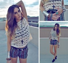 Thifted Crochet Top, Forever 21 Shorts, Mexican Import Jewelry, Vintage Belt, Mexican Import Skull Braclets, Forever 21 Teal Stone Ring