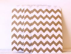 Gold Chevron Paper Favor Bags 25 Treat Bags by MailboxHappiness Chevron Paper, Gold Chevron, Gold Stripes, Baby Shower Favors, Bridal Shower, Popcorn Bags, Golden Anniversary, Party Garland, Custom Tags