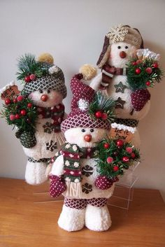 *SNOW PUFF SNOWMEN ~ stand approximately tall and are embellished with rusty tin snowflake and star buttons, pine, berries, glittery leaves and a rustic frosted sign Christmas Crafts For Adults, Christmas Love, Christmas Snowman, Holiday Crafts, Christmas Holidays, Christmas Wreaths, Christmas Ornaments, Handmade Christmas Decorations, Xmas Decorations