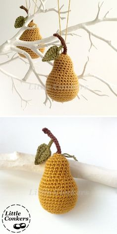 Pear ornaments in natural fibres - choice of colours available.