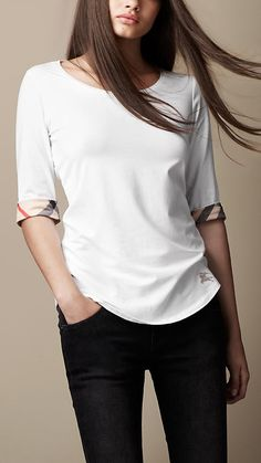 Check Cuff Cotton Top | Burberry