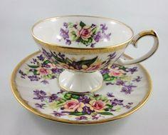 Rich Roses  Violets Pedestal Shafford Tea Cup and Saucer Set