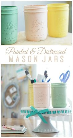 Painted and distressed mason jar tutorial via lollyjane.com