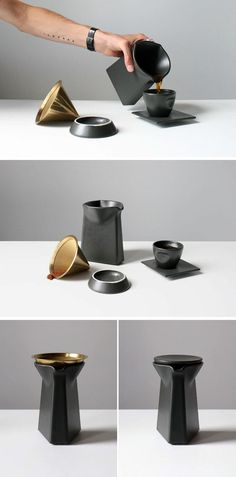 This matte black, porcelain, pour-over coffee press is the perfect
