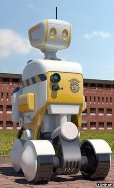 robotic correction officer in Korea.  Probably takes fewer sick days than a human one