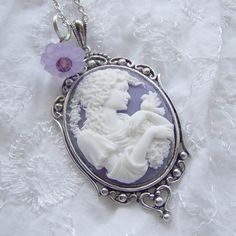 Cameo Pendant  GODDESS IN GARDEN  Dove  by SouthernBelleOOAK Crystal Beads, Crystals, Beautiful Goddess, Cameo Necklace, Cameo Pendant, Purple Backgrounds, Needful Things, Southern Belle, Purple Flowers