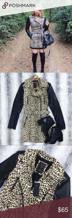 """Guess • Leopard Trench Coat Selling this leopard and leather trench coat by Guess. It's brand new, with tags attached! Talk about a show stopper, this jacket is amazing. I ended up buying a different size so I'm selling this one. The sleeves are faux leather. This is a MUST HAVE piece for fall! It's an edgy take on the traditional trench coat.   Measurements: 34"""" Length   xoxo, Chelsea Lee Guess Jackets & Coats Trench Coats"""