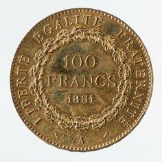 Augustin Dupré (1748-1833), Pièce de 100 francs en or de la IIIe République, 1881. © Julien Vidal / Musée Carnavalet / Roger-Viollet