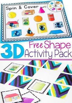 Here is an awesome FREE printable 3D shape activity pack from Life Over C's! This pack contains 4 fun activities for learning about 3D shapes: shape spin & cover, memory game, flipbook, and picture supported sentence building cards. Kids will love learning about 3D shapes with all of these different hands-on activities! What are you waiting for? Get yours today! 3d Shapes Activities, 3d Shapes Worksheets, Shapes Worksheet Kindergarten, Kindergarten Math Activities, Learning Shapes, Fun Activities, Math Games, Preschool Math, Preschool Shapes
