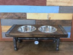 Industrial Dog Feeder, Dog Bowl, Pet Feeder, Pet Supplies, Pet Feeding, Elevated Dog Bowl, Raised Dog Bowl, Pipe Furniture, Industrial Style by TheCleverRaven on Etsy https://www.etsy.com/listing/463425691/industrial-dog-feeder-dog-bowl-pet