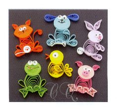 """Animal Buddies Quilling Kit Custom Quilling Supplies - A wonderful combination of miniature techniques, basic quilling, and tight circles are used in this kit.   Instructions to make six cute animals.   Includes 1/8"""" paper and wiggly eyes... how cute are they?!?!"""
