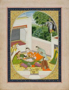 KRISHNA AND A FAINTED YOUNG WOMAN. (KRISHNA VENUGOPALA), Color, gold and silver on paper, India, Kangra, ca. 1820, The painting is an illustration to a poem written in devanagari which comes loosely with it. A young lady faints hearing Krishna playing the flute while her attendants believe that she might has been bitten by a snake.