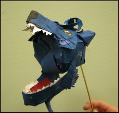 Dog or wolf paper puppet