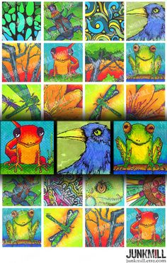 Some of my favorite colorful critters : salamanders, spring peepers, dragonflies and ravens.   #collagesheet #digitaldownload #etsy #amphibians #springisfinallyhere https://www.etsy.com/listing/62526801/illustrated-inchies-digital-printable