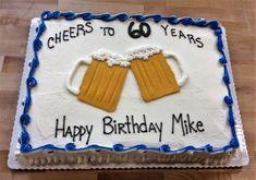 Geschenk Geburt - Sheet Cake with Piped Beer Mugs Birthday Cakes For Men, Easy Birthday Cake Recipes, Funny Birthday Cakes, Birthday Sheet Cakes, Homemade Birthday Cakes, Cake Birthday, Cakes For Women, Beer Mugs, Beer Mug Cake
