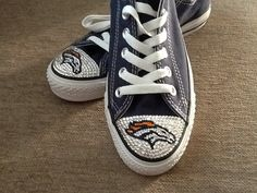 Blinged Converse Denver Broncos shoes by TeamMomBling on Etsy, $130.00