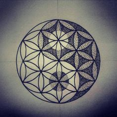 Flower of life yin yang geometry sym Sacred Geometry Symbols, Geometric Symbols, Sacred Geometry Tattoo, Geometric Mandala, Geometric Flower, Flower Mandala, Mandala Art, Yin Yang Tattoos, Tribal Tattoos