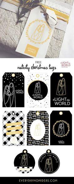 Black & White Modern Nativity Christmas Gift Tags (FREE Printable) #LIGHTtheWORLD
