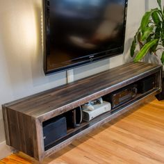 Reclaimed Wood and Steel Floating Entertainment Center