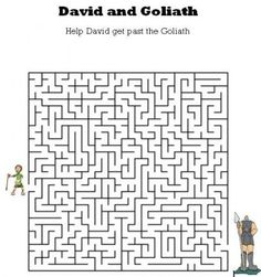 Kids Bible Worksheets-Free, Printable David and Goliath Maze.  Older kids.